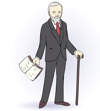 knowledgeable: Senior man stands holding a book. Vector illustration Illustration