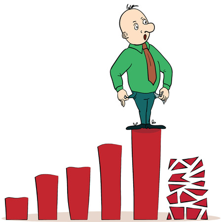 going down: frightened businessman on a chart going down, Cartoon vector illustration. concept Illustration
