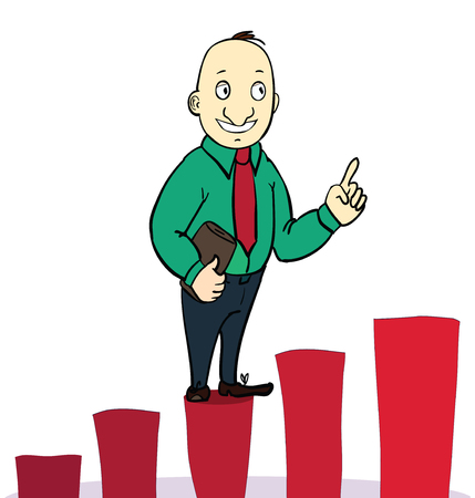 businessman jump over growing chart. concept. Vector illustration