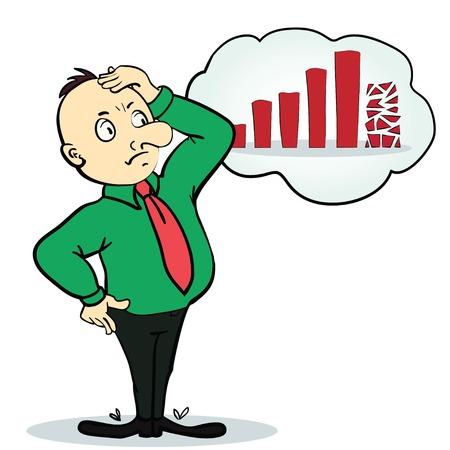 stock trader: Hombre asustado cerca de flecha rota y va hacia abajo. Ilustraci�n de dibujos animados. Concepto. Ilustraci�n vectorial Vectores
