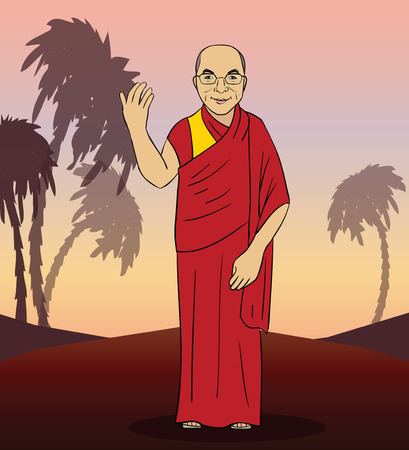 buddism: Cartoon figure of buddhist monk. Vector illustration