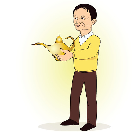 Man, person with Lamp of Aladdin. vector illustration