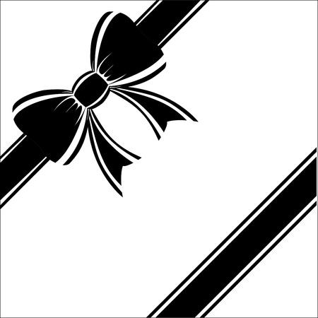 ruban noir: Beau cadeau noir bow sur un fond blanc.