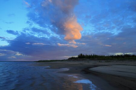 lena: Yakutia the Lena River. Sunset at the mouth of Viluy.