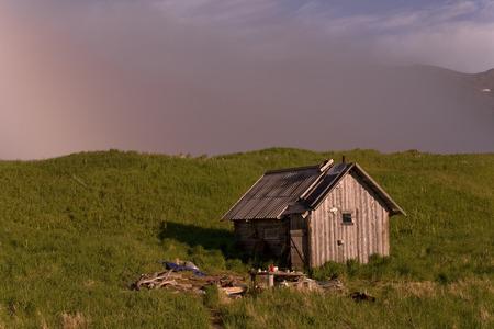 The coast of the Sea of Okhotsk. Koni peninsula. Magadan region. Lonely hut.