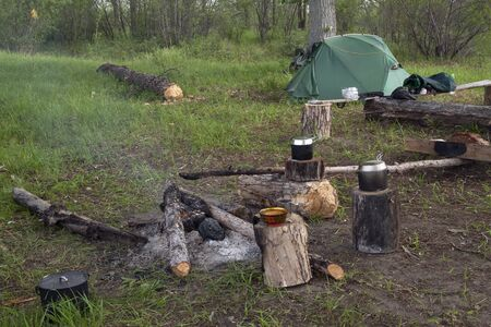 bivouac: Bivouac on the banks of the Indigirka. Yakutia. Stock Photo