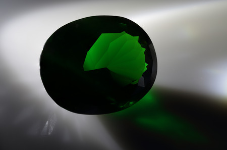 spinel: Green cut stone. Stock Photo