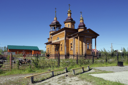 lena: The Orthodox Church in Zhigansk. Yakutia, the Lena River.