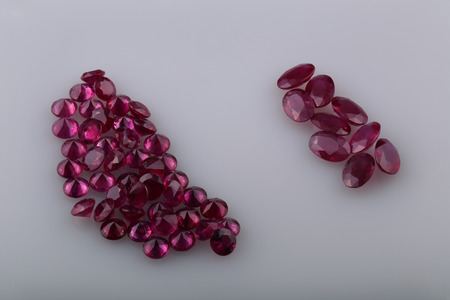 gemology: Natural ruby different shapes in the collection.