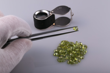 Natural peridot and tools gemologist.