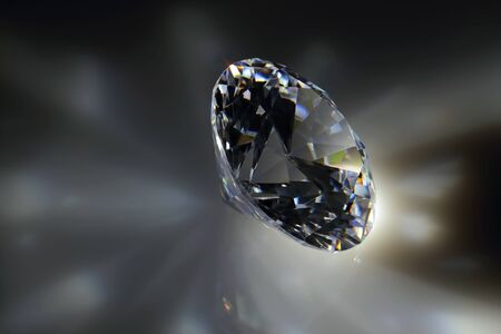 Close-transparent synthetic stone in the shape of a diamond.