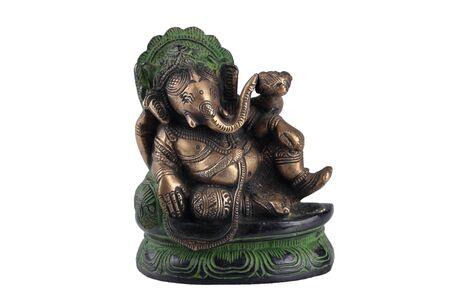 god ganesh: Metal statue depicting the Hindu god Ganesh.