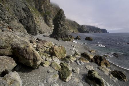 impregnable: Sea coast of the peninsula Kony. Magadan Region. The Sea of Okhotsk. Russia.