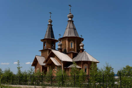 architectonics: Wooden Orthodox Church in the city of Lensk. Yakutia. Russia.