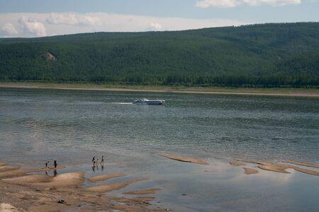hovercraft: Cushioncraft floating on the river Lena. Yakutia Russia. Stock Photo