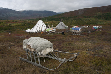 urals: Herders camp in the mountains of the Polar Urals. Russia.