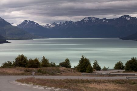 lake argentina: The road at the edge of the lake. Argentina. Patagonia. National Park Los Glacyares.
