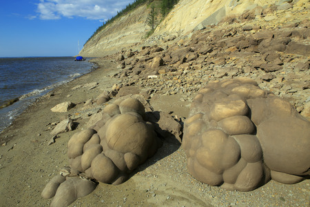 accretion: Sand concretions on the banks of the Lena River. Yakutia. Russia.