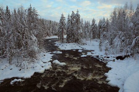 frozen river: Not Frozen River in the winter forest. Karelia. Russia.