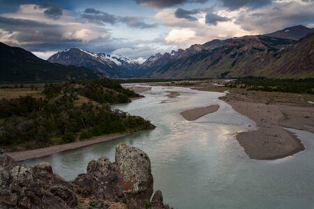 turbid: River Valley of Rio de las Vueltas. Patagonia. Argentina. The surroundings of the village El Chalten. Stock Photo