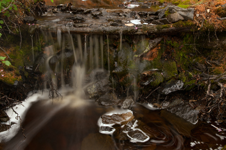 maelstrom: Forest stream with a waterfall. Yakut taiga. Russia.