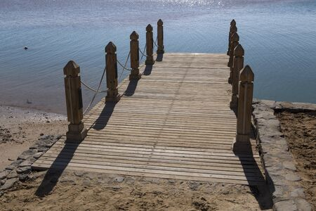 duckboards: Wooden pier on the beach. El Gouna. Egypt.