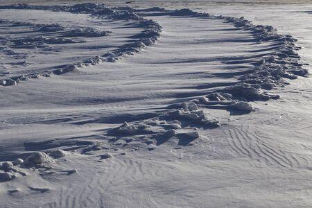 flyaway: Car track under deep snow. Yakutia. Russia. Stock Photo