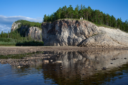 plumb: Cliffs on the river bank. Lena river. Yakutia. Russia. Stock Photo