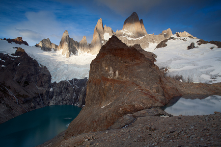 vertex: Two mountain lakes at different heights. Patagonia. Mount Fitz Roy. Argentina. Stock Photo