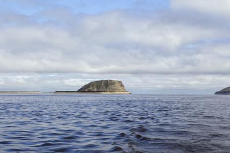 furthest: Island in the great river. Lena River Delta. Stolb Island. Yakutia. Russia. Stock Photo