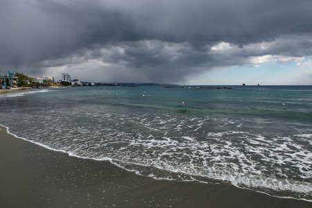 stormy sea: Sea Beach and stormy sea. Limassols seafront promenade. Cyprus.