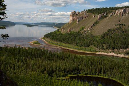 lena: Top view of a big river. Lena river. Yakutia. Russia.