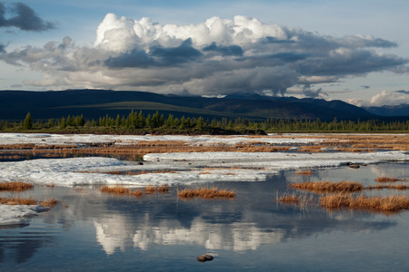 Fragments of the last ice on the river. Moma River. Big Moma frost. Yakutia. Russia.