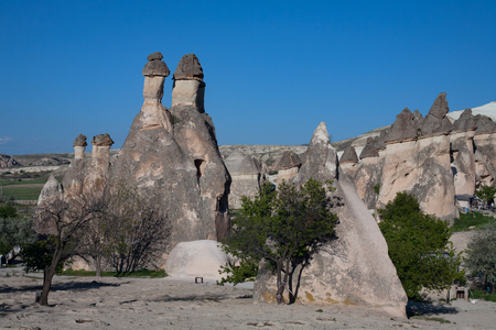weathering: Landscape form of weathering of volcanic tuffs. Cappadocia. Turkey.