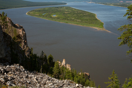 grandiose: Top view of a big river. Lena river. Yakutia. Russia.