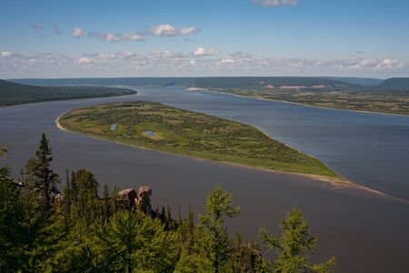 lena: Top view of a big river. Lena river. Yakutia. Russia.