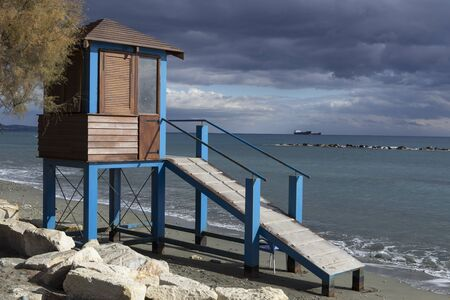 cope: Lifeguard tower on the beach. Limassols seafront promenade. Cyprus.