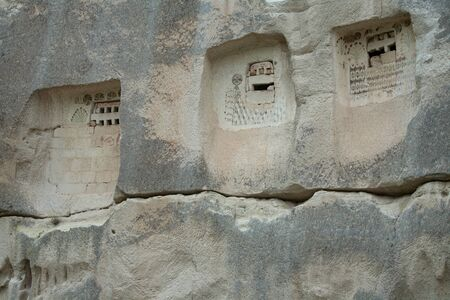 niches: Niches carved into the rock. Cappadocia. Turkey. Stock Photo