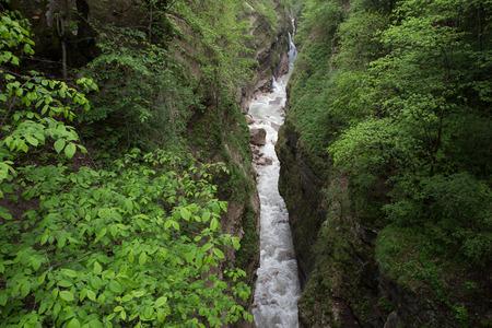 deepness: The narrow canyon Urukh river. Digoriya, North Ossetia, North Caucasus, Russia.