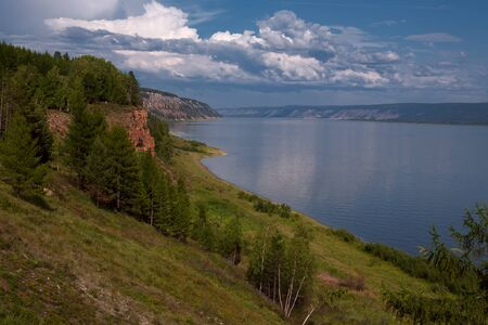 roomy: View from the high bank of the big river. Lena river. Yakutia. Russia. Stock Photo
