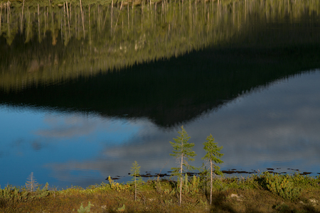 Reflection of the sky in the lake. Lake Labynkyr. Yakutia. Russia.