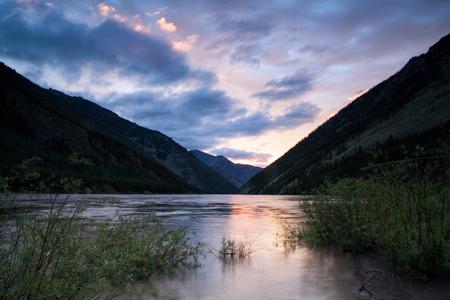deluge: Flooding in a mountain river. Indigirka River. Yakutia. Russia.