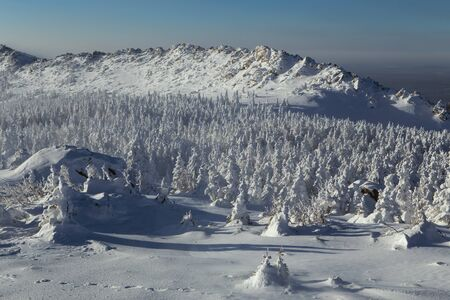 urals: Snowy winter landscape in the mountains. National Park Taganay. Southern Urals. Russia.