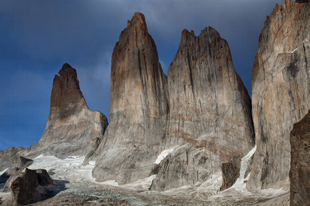 The granite towers of Torres closeup. National Park Torres del Paine. Chile. Stock Photo
