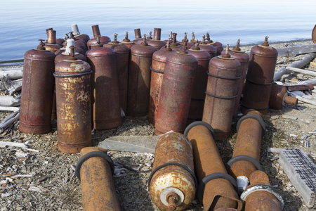 The old equipment in the abandoned Soviet polar station. The Island Of Bolshoi Begichev. The Laptev Sea. Russia.