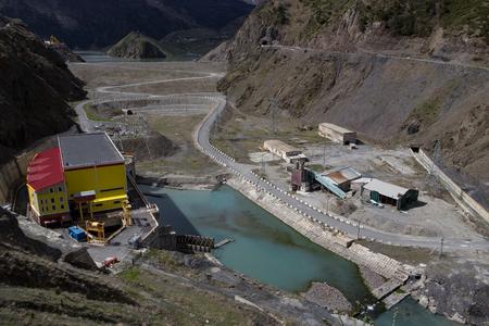 Technical facilities in reservoir of Zaramag. North Ossetia, Caucasus. Russia.