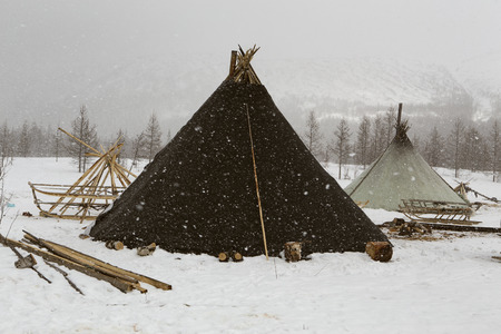 Dwelling herders in the winter. Polar Urals. Russia.