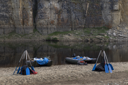 Equipment for rafting on the river. Natural Park Siine. Yakutia.