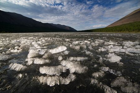 A jumble of ice fragments on the surface of the lake. Tomponsky district. Yakutia.