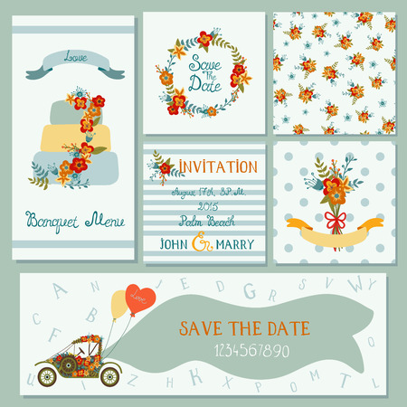 Collection of 6 cute trendy cards templates with flowers, cake and retro car. 2 seamless patterns. Romantic, wedding, save the date, baby shower, birthday party. Hand drawn letters and numbers.